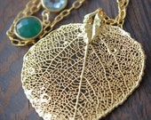 40 OFF SALE Gold Dipped Aspen Leaf Necklace with Green Onyx, Teal Quartz - Long Necklace