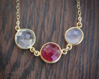 25% OFF Multi-Gemstone Necklace - Red Ruby Quartz, Pink Chalcedony, Crystal Quartz - 14K Gold Fill