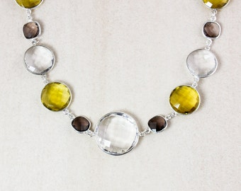 Crystal Quartz Bib Necklace – Citrine Quartz and Smokey Quartz – 925 Sterling Silver Chain