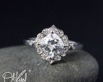 VALENTINES DAY SALE Forever Brilliant Cushion Halo Diamond Engagement Ring - Vintage Flower Halo - Scallop Halo