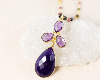 Gold Purple Onyx Teardrop Necklace – Rainbow Tourmaline Chain - Layering Necklace