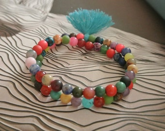 30% OFF SALE Justhipstuff Gemstone Beaded Stretchy Tassel Bracelet