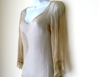 Silk Chiffon - SHEER - Blouse - Pullover - Nude - Beige - Sand - V Neck - Ballet - Art Deco - Girly - Romantic -Layer -Three Quarter Sleeve