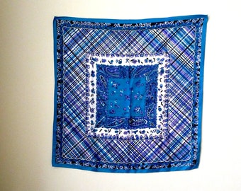 Square Scarf - Rain Scarf - Water Repellent - Blue - Turquoise - Purple - White - Black - Plaid - Paisley - Retro - 60s style - Recycled -