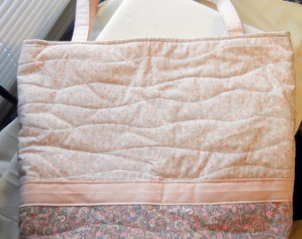 Pink Floral and Paisley Quilted Tote Bag