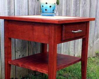 Cherry End Table.  Cherry Side Table.  Mother of Pearl End Table.  Bedside Table.  Mosaic End Table. Cherry Finish - Handmade