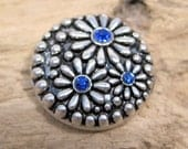 Sapphire Blue rhinestone Daisies snap charm - Chunk charms - Fits Ginger Snaps, Magnolia Vine, Noosa - 18-20mm - Snap buttons
