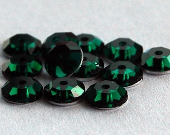 Vintage 12 Swarovski Lochrosen 3000 Crystal Glass Sew On Sequin 4.5mm Siam Emerald Green