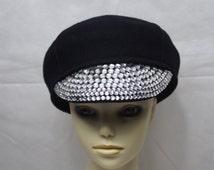 Rhinestone Embellished Brim 100% Wool Pageboy Hat / Newsboy Cap / cabbie / Bling Hat / Faux Diamond Cap