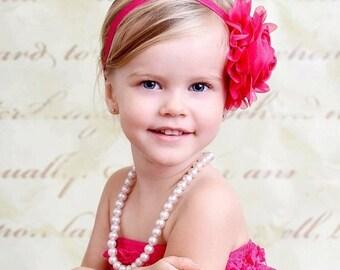 Hot Pink Flower Headband, Hot Pink Flower Jumbo Chiffon Rose Stretchy Hot Pink Headband or Hair Clip, The Emma, Baby Child Girls Headband