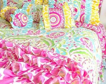 Kumari Garden Teja Pink Big Girl Twin Bedding, Twin Bedding Duvet, Optional Bed Skirt