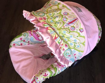Ritzy Baby Kumari Garden, Teja Pink Infant Car Seat Cover Set Including Strap Set