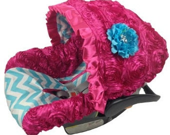 Ritzy Baby Turq Chevron & Hot Pink Roses Infant Car Seat Cover, Includes Matching Strap Set