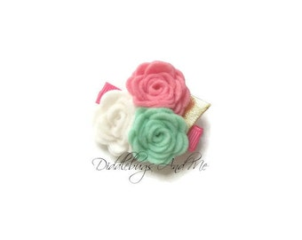 Coral Pink Mint and White Felt Roses Hair Clip, Girls Roses Hair Clip, Felt Rose Hair Clip, Mint Rose Hair Clip,  Coral Pink Rose Hair Clip,
