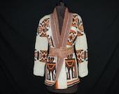 vintage cowichan tribal cardigan. 1970's chunky knit boho sweater. medium / large.