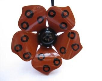 60s flower brooch enamel floral pin polka dot flower power vintage jewelry