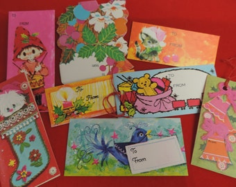 vintage christmas gift tags mod kitsch holiday tags paper ephemera mixed media collection