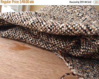 SALE SALE SALE Vintage Fabric Wool Heavy Woven Black Cream Brown Gray Neutral Colors Specks Sewing Supplies Yardage