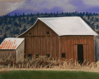 Old Barn Tin Roof- Original Drawing by Jamie's Art 11x14