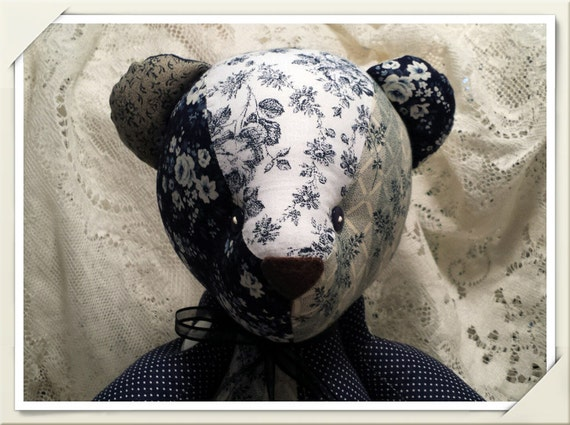 Jointed Patchwork Teddy Bear - Assorted Navy Blue Prints, Florals & Polka Dots