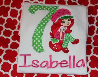 Strawberry girl 7th birthday tshirt, or dress- any number