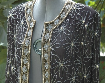 Vintage Heavily Beaded Long Flowy Open From Tunic with Slit Sides