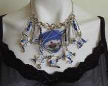 Broken China Necklace,Broken China and Safety Pins Necklace,Laminated Image Necklace,Safety Pins Necklace