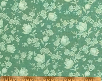 Joan Kessler for Concord Fabrics Cotton Green Floral Colorway 1 Yard