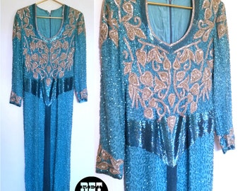 Gorgeous Vintage Princess Gown with Blue Sequins and Beads! So Pretty and Intricate!