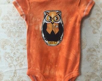 3 month Baby Hand Dyed Halloween Owl Appliquéd onesie
