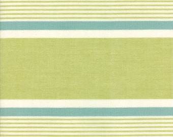 "Moda Retro Kitchen Toweling, FIESTA STRIPE Avocado, 16"" wide finished edge; sold by the yard"