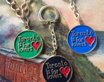 TORONTO is for LOVERS vintage charm  // Fun 1970s / 1980s souvenir keychain or pendant // Fun and funky kitsch accessory // Deadstock!