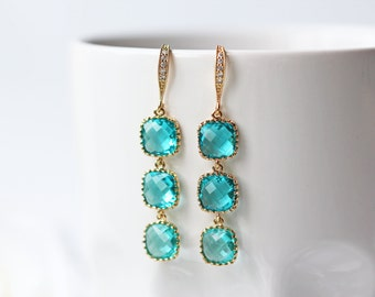 Blue Zircon Glass Gold Earrings Cubic Zirconia Modern Long Square Wedding