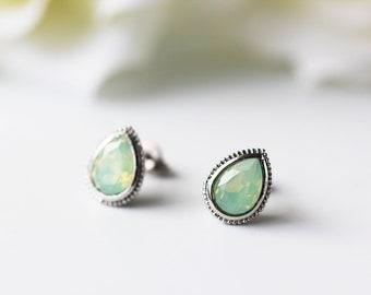 Pale Mint Opalescent Pear Shape Swarovski  Titanium Stud Silver Bezel Chrysolite Opal