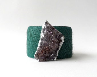 "leather cuff bracelet  - deep aqua hair on hide with amethyst geode - 1.5"" wide"