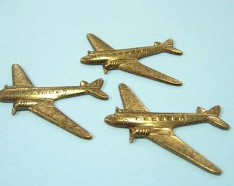 Three (3) Brass Airplane