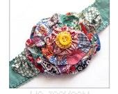 headband made from antique wedding ring quilt blocks