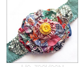headband made from antique wedding ring quilt blocks