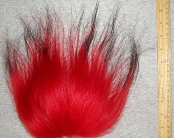 Troll Doll Replacement Wig Hair Mohair-Red with Black Tips Soft Wool Icelandic sheepskin