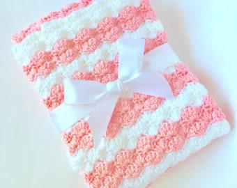 Crochet Baby Blanket - Baby Blanket - Knitted Baby Blanket - Soft Crochet Baby Blanket - White And Pink Baby Blanket - Baby Afghan
