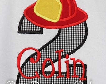 Firefighter Birthday Shirt, Fireman Birthday Shirt, Custom Fabrics and Colors, Any Age, Fire Birthday Shirt, Fire Truck Birthday Shirt