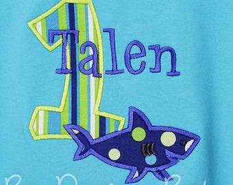 Shark Birthday Shirt, Personalized Shark Birthday Shirt, Custom, Any Age, You Pick Fabrics and Font
