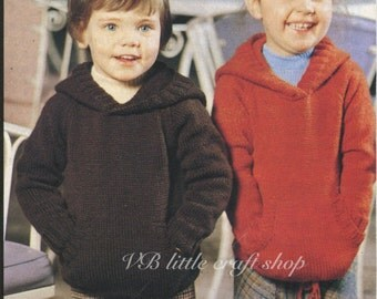 Child's hoodie knitting pattern. Instant PDF download!