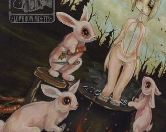 "Lowbrow  fantasy art Original Acrylic painting  -16"" by 20"" Rabbit Stew"