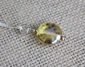 Pale Yellow Iridescent Glass Bead Pendant | Sterling Silver & Gold Pendant Necklace