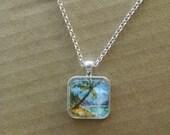 OOAK Watercolor Painting Hawaiian Necklace - Vacation Souvenir