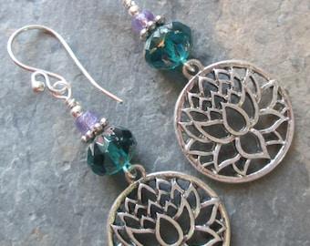 Amethyst & Crystal Lotus Earrings ~ Bohemian, Spiritual Style Jewelry