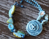 Blue Star - Ceramic Bracelet - Blue Beaded Bracelet - Chunky Boho Bracelet - Rustic - Eclectic - Bead Soup