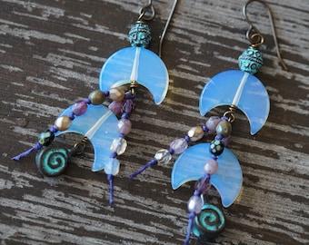 Moon Earrings - Long Boho Earrings - Opalite Half Moon Earrings - Beaded Earrings - Long Gypsy Earrings - Hippie Jewelry - Bead Soup Jewelry
