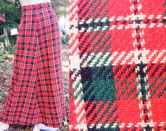 35% OFF 70s Maxi Skirt/ 70s Costume / Vintage Tartan Skirt/ Plaid Skirt/ Vintage Skirt/ 70s Skirt Size 6